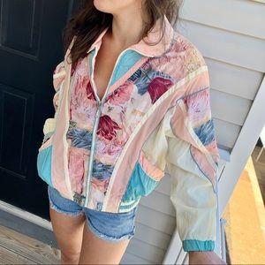 Vintage retro 90's  floral windbreaker jacket